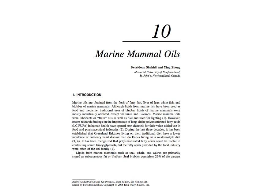 Comparison of Fish Oil and Marine Mammal Oil