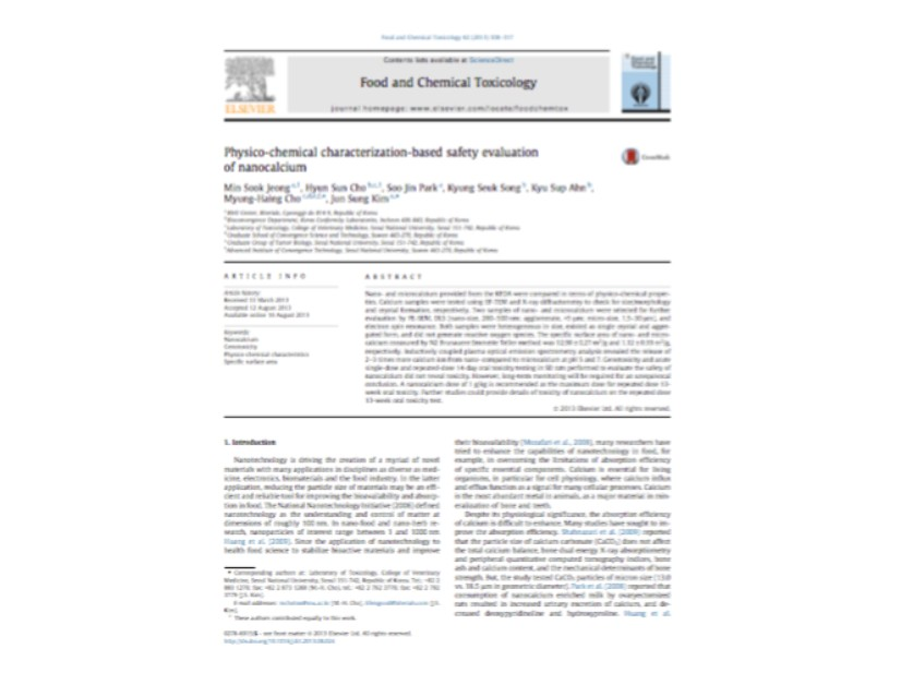 Physico-chemical characterization-based safety evaluation of nanocalcium