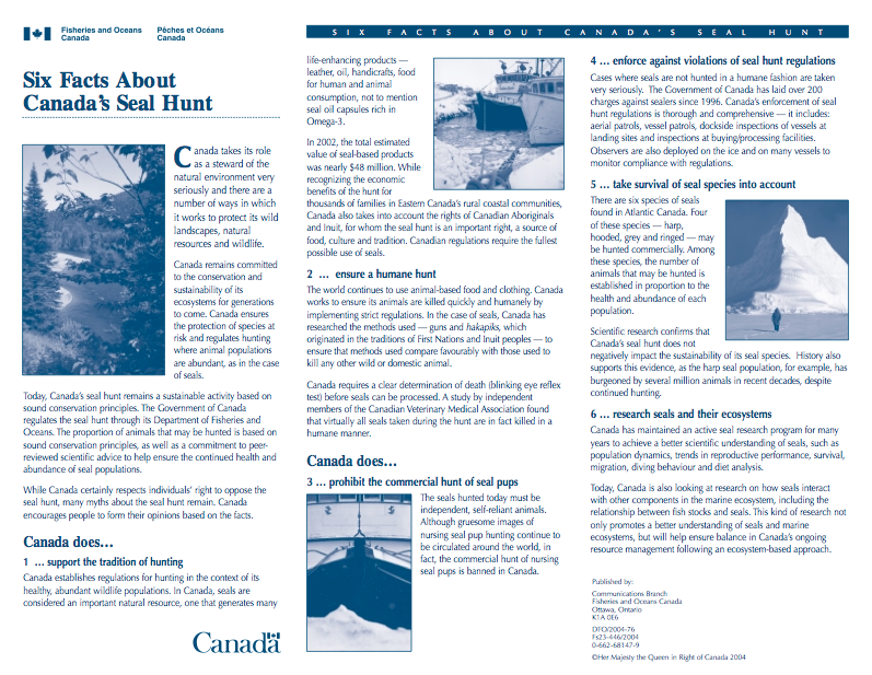Six Facts About Canadian Seal Hunt