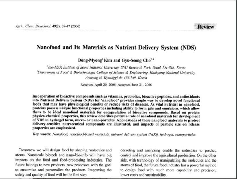 Nanofood-Nutrient Delivery System
