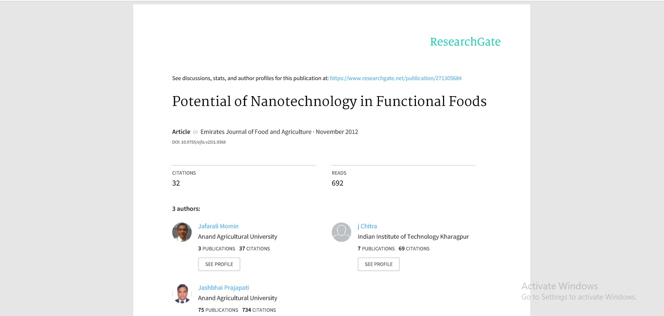 Potential of nano technology in functional foods
